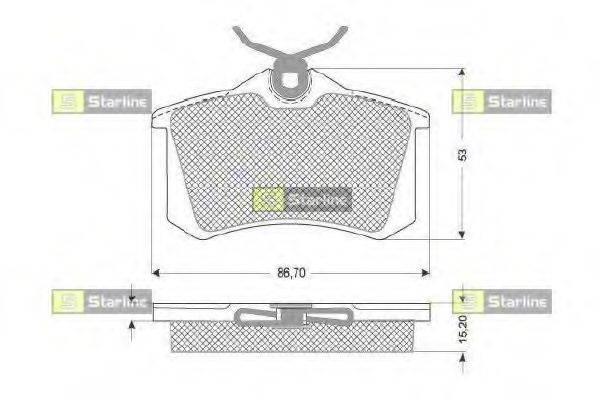 STARLINE BDS831P Комплект тормозных колодок, дисковый тормоз