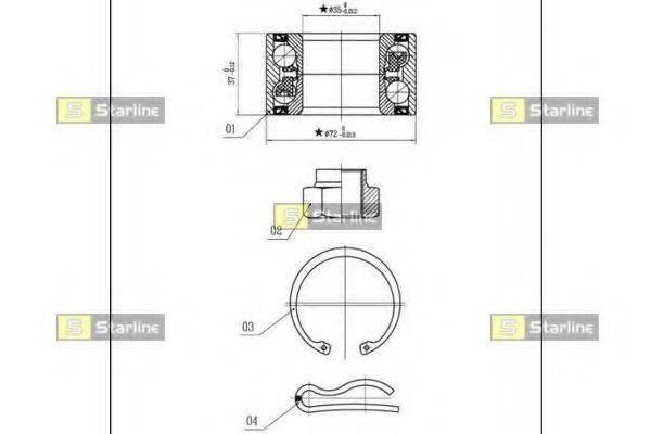 STARLINE LO00915 Комплект подшипника ступицы колеса