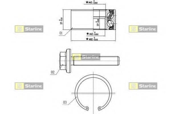 STARLINE LO01356 Комплект подшипника ступицы колеса