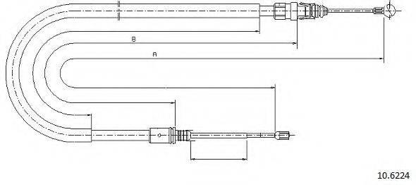 CABOR 106224 Трос, стояночная тормозная система