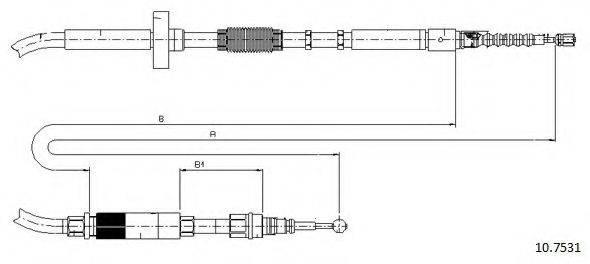 CABOR 107531 Трос, стояночная тормозная система