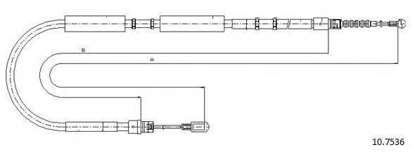 CABOR 107536 Трос, стояночная тормозная система