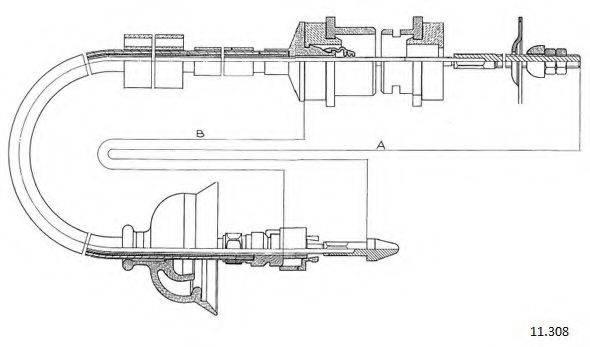 CABOR 11308 Трос, управление сцеплением