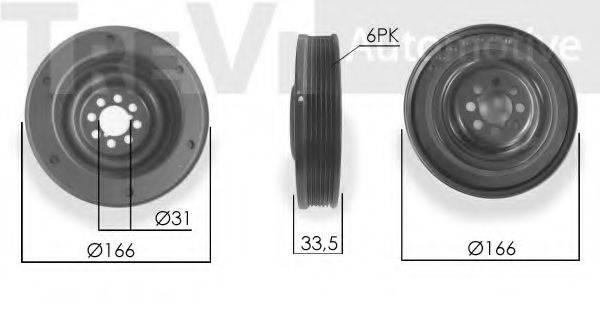 TREVI AUTOMOTIVE PC1243 Ременный шкив, коленчатый вал