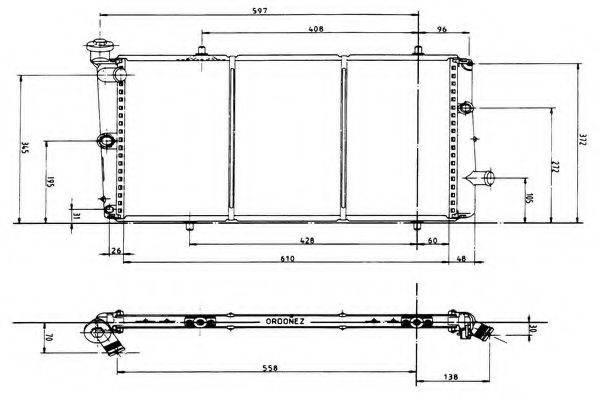 ORDONEZ 1020286809 Радиатор, охлаждение двигателя