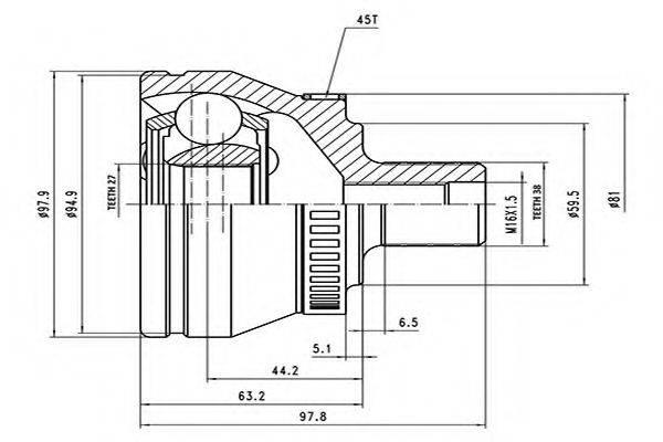 AYWIPARTS AW1510162A Шарнирный комплект, приводной вал
