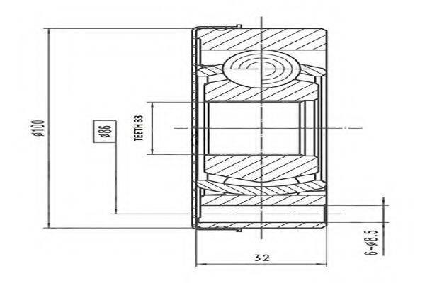 AYWIPARTS AW1520762 Шарнирный комплект, приводной вал