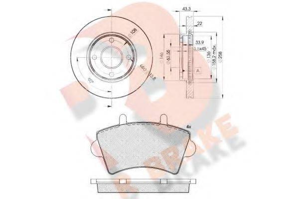 R BRAKE 3R14425344 Комплект тормозов, дисковый тормозной механизм