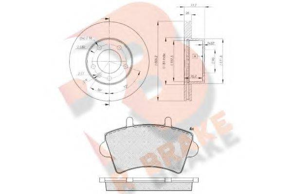 R BRAKE 3R14426848 Комплект тормозов, дисковый тормозной механизм