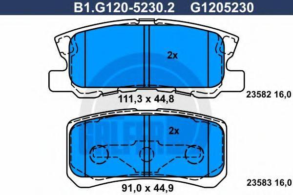 GALFER B1G12052302 Комплект тормозных колодок, дисковый тормоз