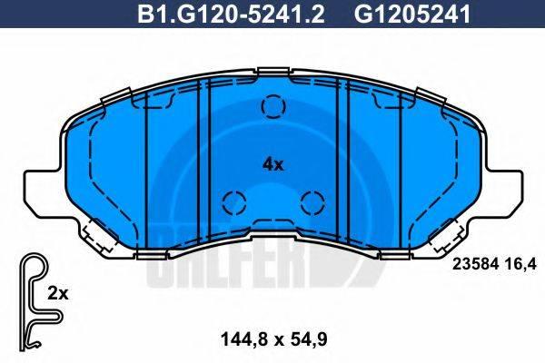 GALFER B1G12052412 Комплект тормозных колодок, дисковый тормоз