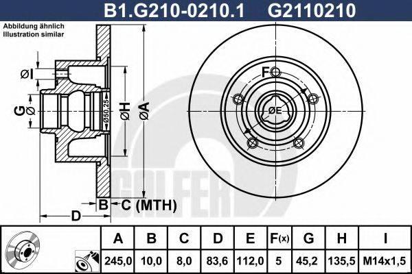 GALFER B1G21002101 Тормозной диск