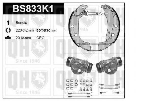 QUINTON HAZELL BS833K1 Комплект тормозов, барабанный тормозной механизм