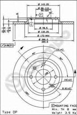 BREMBO 08293824 Тормозной диск