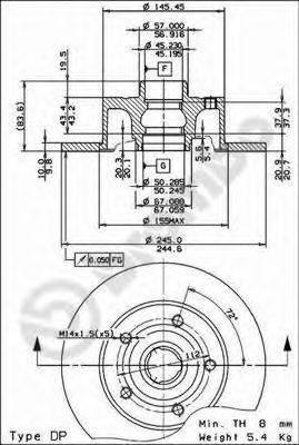 BREMBO 08691114 Тормозной диск