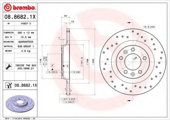 BREMBO 0886821X Тормозной диск