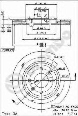 BREMBO 09498721 Тормозной диск