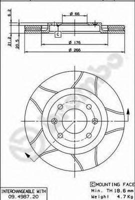 BREMBO 09498776 Тормозной диск