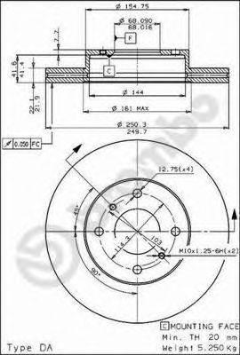 BREMBO 09502210 Тормозной диск