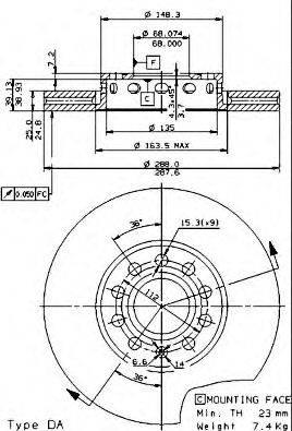 BREMBO 09574521 Тормозной диск