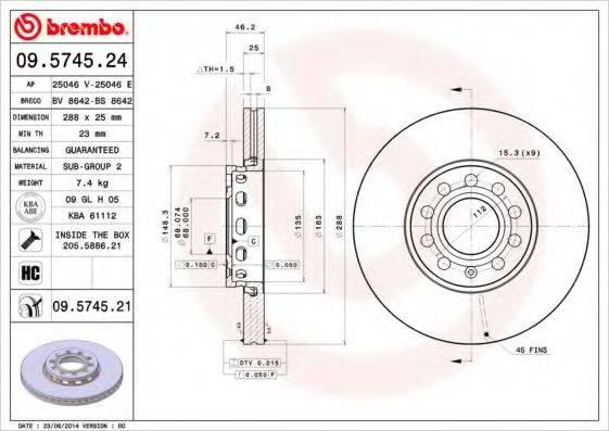 BREMBO 09574524 Тормозной диск