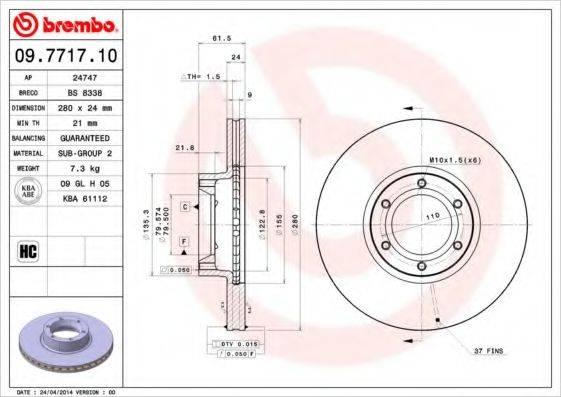 BREMBO 09771710 Тормозной диск