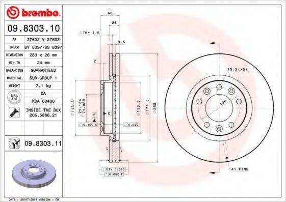 BREMBO 09830311 Тормозной диск