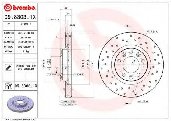 BREMBO 0983031X Тормозной диск