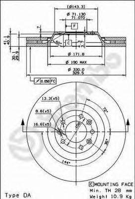 BREMBO 09867011 Тормозной диск