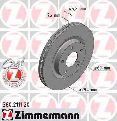 ZIMMERMANN 380211120 Тормозной диск