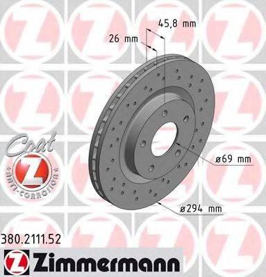 ZIMMERMANN 380211152 Тормозной диск