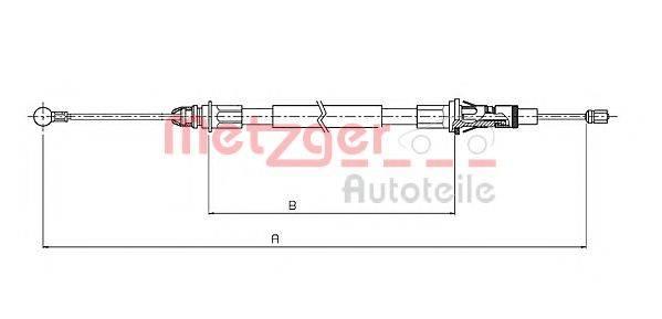 METZGER 106854 Трос, стояночная тормозная система