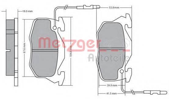 METZGER 1170195 Комплект тормозных колодок, дисковый тормоз